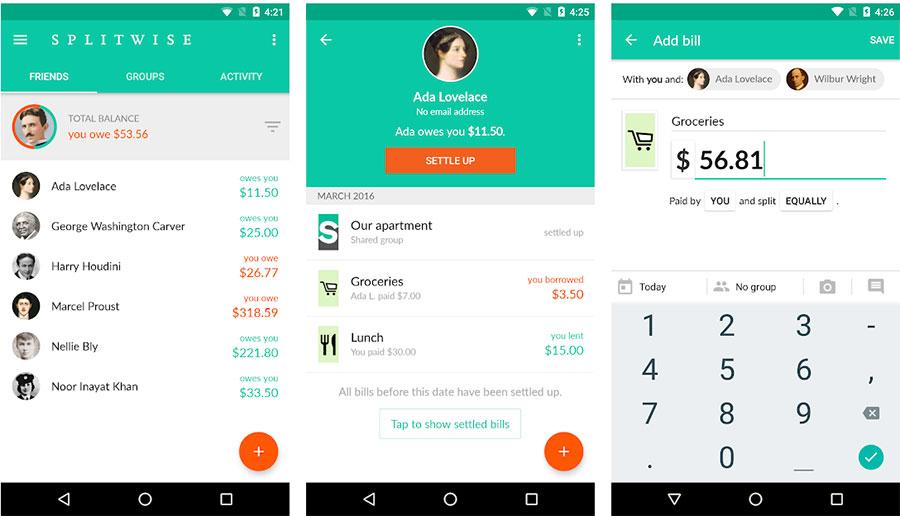 Haushaltsbuch App: Splitwise